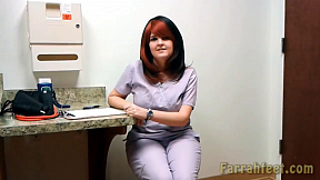 FARRAHFEET.COM-10-NaughtyFootNurse-She's been on her feet all day, She decides to take off her shoes. While they wait for the doctor she shows him her and blue painted toes and soft soles. And for being a good patient, she lets him lick chocolate off her delicious toes